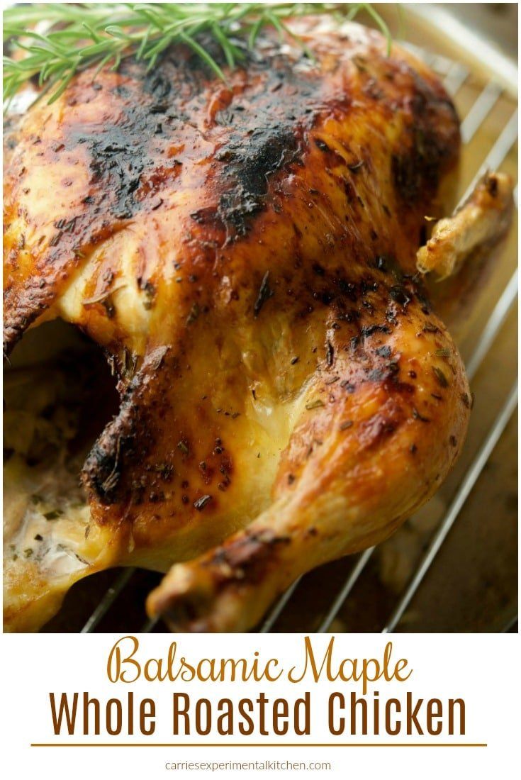 Try this Balsamic Maple Whole Roasted Chicken for Sunday family meals or weeknight dinners. It's simple to make and loaded with flavor. #chicken #sundaydinner #dinner #glutenfree #dairyfree