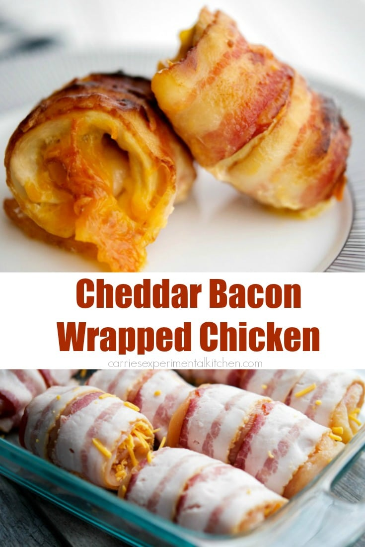 You can't go wrong with this recipe forCheddar Bacon Wrapped Chicken. It'sa super simple, tasty dinner idea with only three ingredients! #chicken #bacon #cheddar #dinner #chickendinner