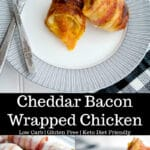 You can't go wrong with this recipe forCheddar Bacon Wrapped Chicken. It'sa super simple, low carb dinner idea with only three ingredients!