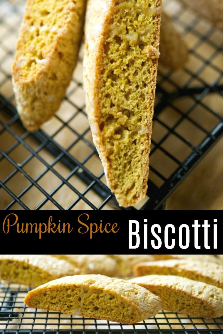 These Pumpkin Spice Biscotti are softer than these traditional Italian cookies, but they're loaded with Fall flavors and perfect for dunking! #cookie #pumpkinspice #biscotti #dessert