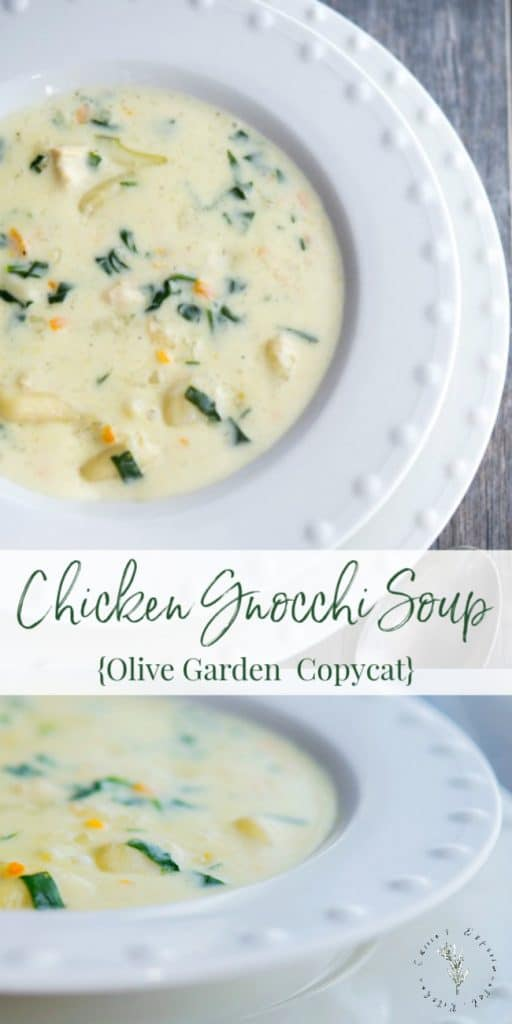 Olive Garden's Chicken Gnocchi Soup made with boneless cooked chicken, vegetables and gnocchi in a creamy chicken broth.