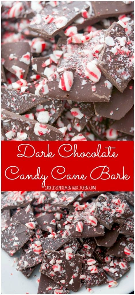 Looking for a quick and easy holiday dessert to bring to a last minute gathering? This Dark Chocolate Candy Cane Bark is perfect!