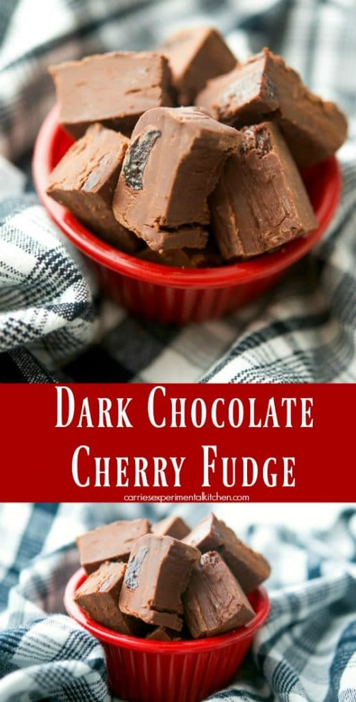 Dark Chocolate Cherry Fudge is a simple, decadent dessert that can be made in minutes with only four ingredients. Add them to your holiday platters too!