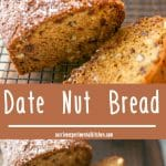 Date Nut Bread is one of my favorite quick breads to make during the holidays. Top it with a little cream cheese and breakfast is served!