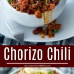 Hearty Chorizo Chili made with lean ground beef, Portuguese chorizo, kidney beans, fire roasted tomatoes and seasonings is comfort food at its best.