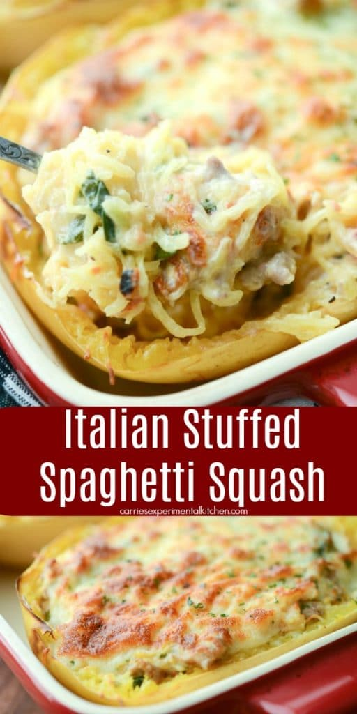 Italian Stuffed Spaghetti Squash made with sweet Italian sausage, fresh spinach, garlic, and fire roasted tomatoes topped with shredded Mozzarella cheese.