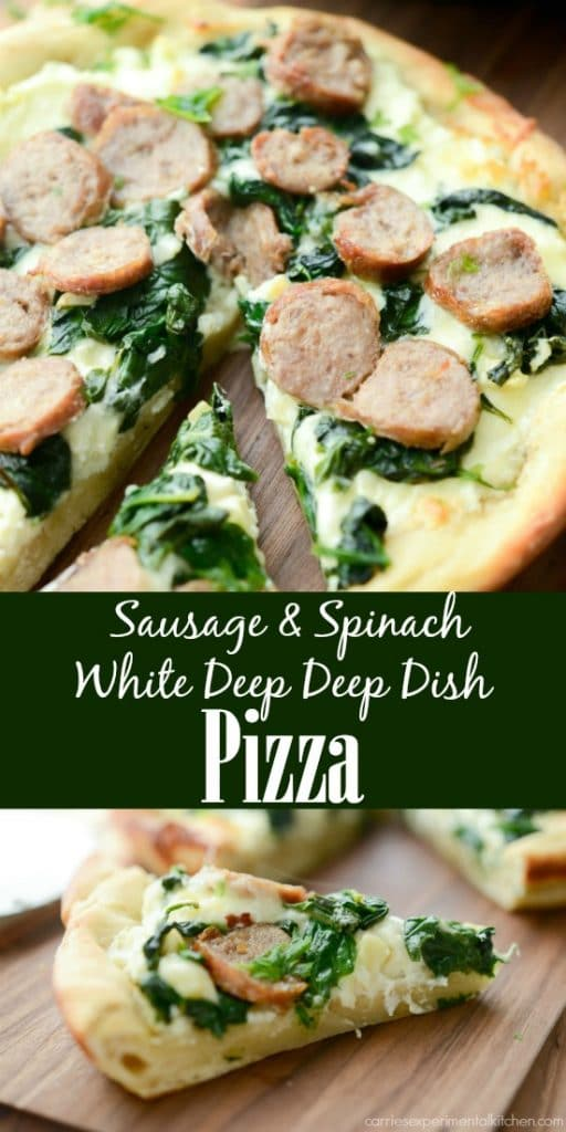 Sausage & Spinach White Deep Dish Pizza made with part skim Ricotta and Mozzarella cheeses, fresh spinach, garlic and sweet Italian sausage.