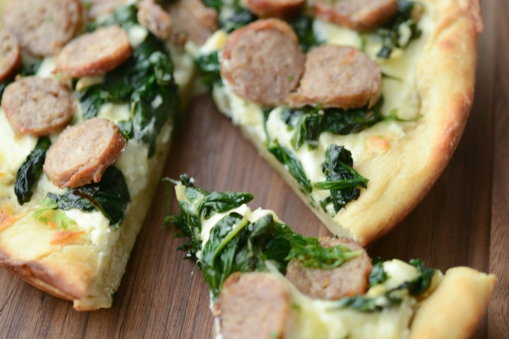 Sausage & Spinach White Deep Dish Pizza