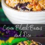 Cajun Black Beans and Rice is a tasty side dish made with beans, vegetables, rice and hot sauce to give it a little kick.