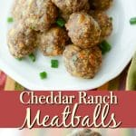Cheddar Ranch Meatballs made with extra lean ground beef, Hidden Valley Ranch seasonings, gluten free breadcrumbs and shredded Cheddar cheese.