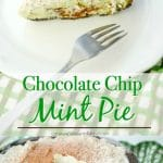 Chocolate Chip Mint Piemade with cream cheese, condensed milk, dark chocolate and mint in an Oreo crust is perfect for your St. Patrick's Day celebrations!