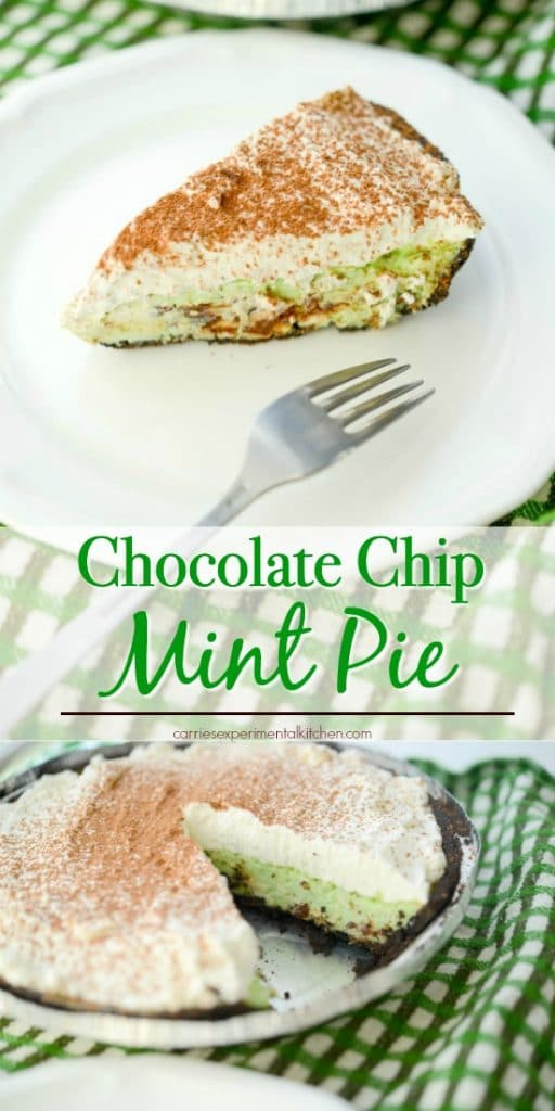 Chocolate Chip Mint Pie made with cream cheese, condensed milk, dark chocolate and mint in an Oreo crust is perfect for your St. Patrick's Day celebrations!