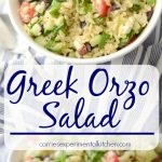 Greek Orzo Salad made with Orzo pasta, Kalamata olives, cucumbers, tomatoes, spinach and Feta cheese in a light lemon, oregano vinaigrette.