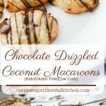 Chocolate Drizzled Coconut Macaroons made with almond flour, coconut and egg whites are a low carb dessert option when you're craving something sweet.