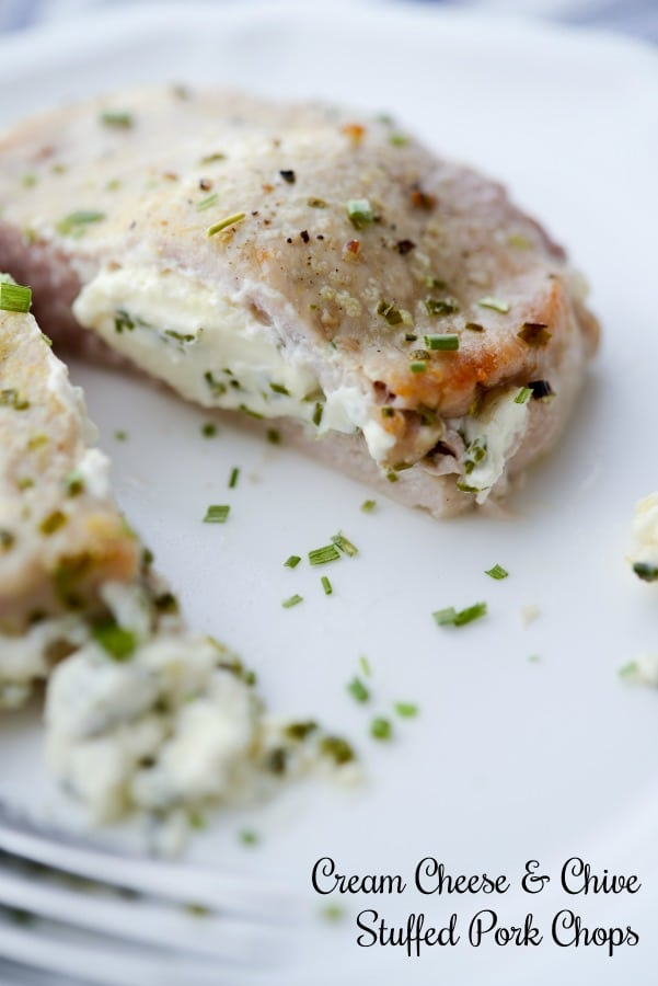 Cream Cheese and Chive Stuffed Pork Chops are a simple to make, quick weeknight meal that are gluten free, low carb and Keto Diet friendly.