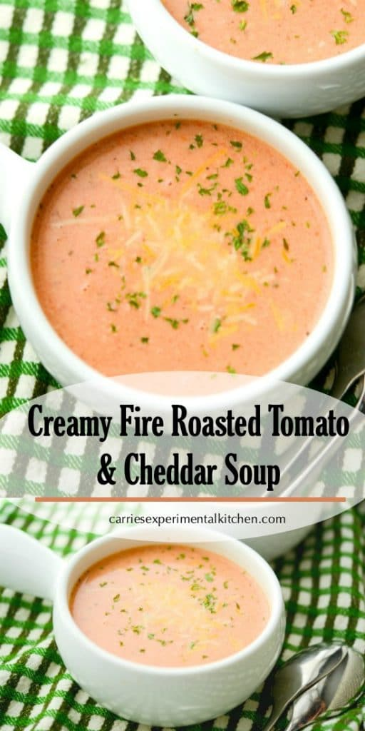 This creamy Fire Roasted Tomato and Cheddar Soup can be made in fifteen minutes with four ingredients. Serve alone or with your favorite salad or sandwich.
