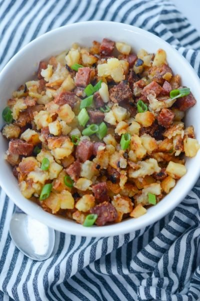 Portuguese chorizo and diced russet potatoes are simple to make and one of our family's favorite, Sunday morning breakfast side dishes.