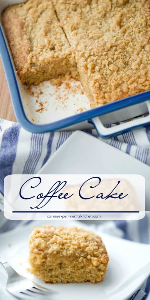 This homemade cinnamon crumb Coffee Cake is deliciously moist, light and would make a tasty snack or addition to any brunch menu.