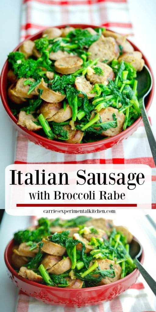Italian Sausage with Broccoli Rabe is one of our family's favorite meals. It's quick to make, delicious, inexpensive and super easy!