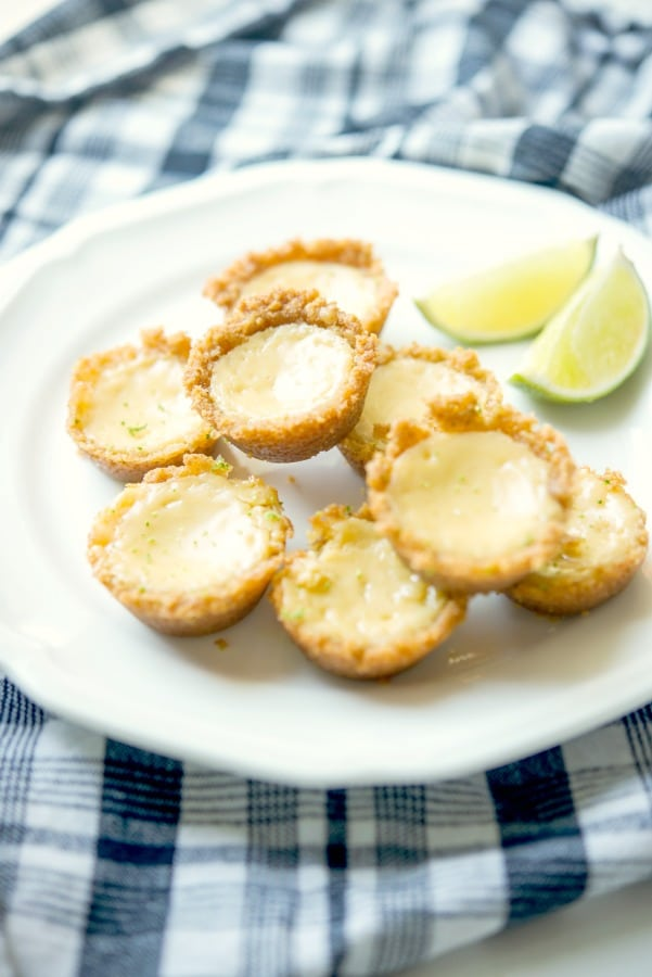 Key Lime Pie Tassies made with fresh key limes in a graham cracker crust.