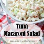 Tuna Macaroni Salad made with gluten free brown rice macaroni, solid white albacore tuna in water and fresh garden vegetables.