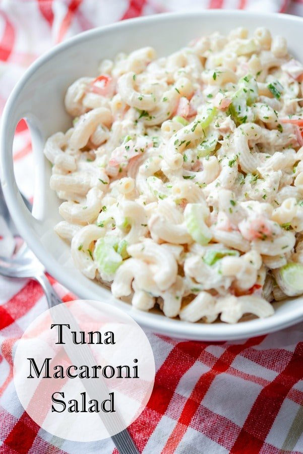 Tuna Macaroni Salad made with gluten free brown rice macaroni, solid white albacore tuna in water and fresh garden vegetables.