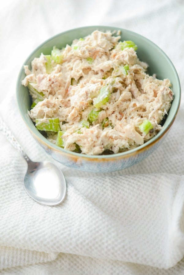 Chicken Salad made using a store bought, finely shredded Rotisserie whole roaster chicken is a super easy way to make a deliciously quick family meal.