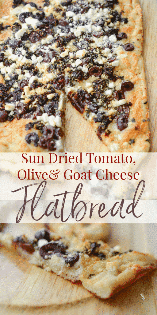 Thin crust flatbread topped with sun dried tomatoes, Kalamata olives, fresh basil, Mozzarella and Goat cheese is perfect as an appetizer or dinner.