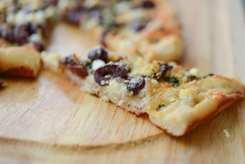 Sun Dried Tomato, Olive, Basil and Goat Cheese Flatbread
