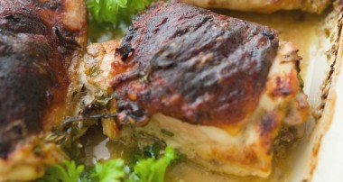 Apple Cider Mustard Oven Baked Chicken Thighs