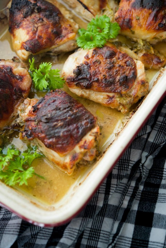 Chicken thighs are so versatile for easy weeknight dinners and this version baked in a marinade of apple cider and Dijon mustard is super tasty.