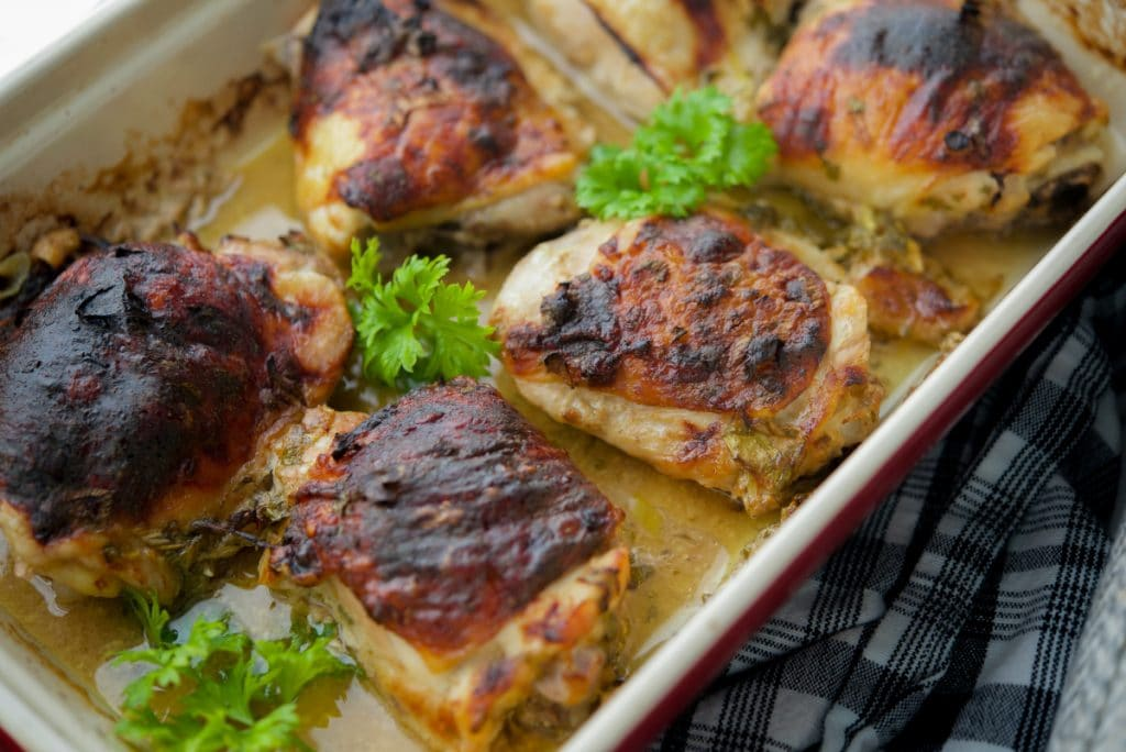 Apple Cider Mustard Baked Chicken Thighs