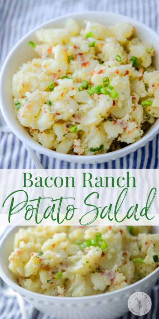 If you're looking for a non-mayo based salad, this Bacon Ranch Potato Salad in a white vinaigrette will be sure to please even the most pickiest eaters.