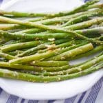 Lemon Parmesan Roasted Asparagus on plate