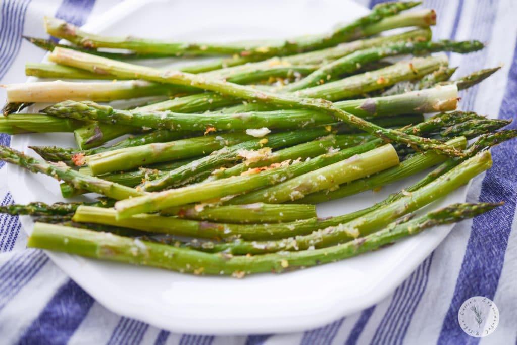 Lemon Parmesan Roasted Asparagus on plate