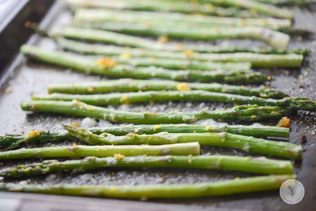 Lemon Parmesan Roasted Asparagus on a sheet pan