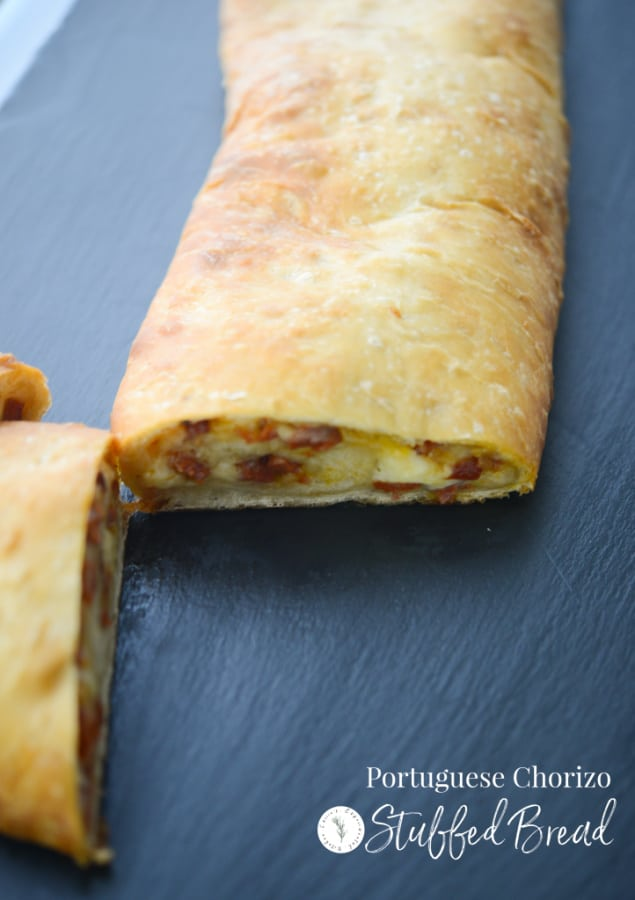 Stuffed bread is similar to a Stromboli and this one stuffed with Portuguese chorizo, fresh garlic and shredded Mozzarella cheese is sure to please.
