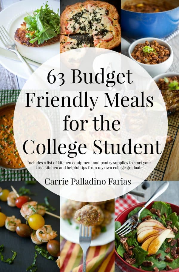 63 Budget Friendly Meals for the College Student...plus a list of kitchen equipment and pantry items to stock your first college kitchen!