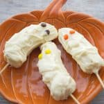 Halloween Banana Mummies on a plate