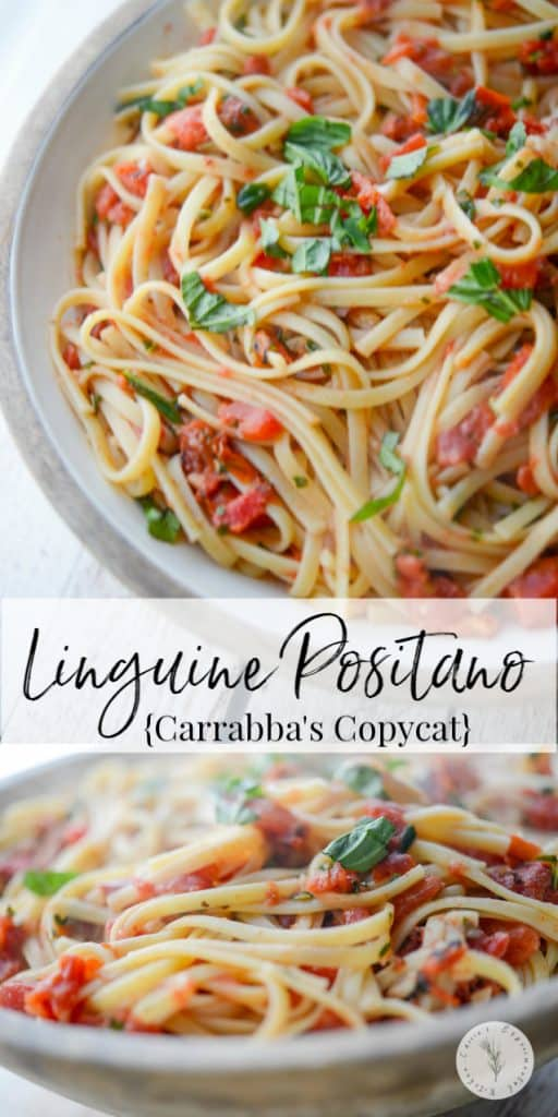 Enjoy the popular Linguine Positano made with fire roasted tomatoes, garlic and basil from Carrabba's Italian Grill at home.