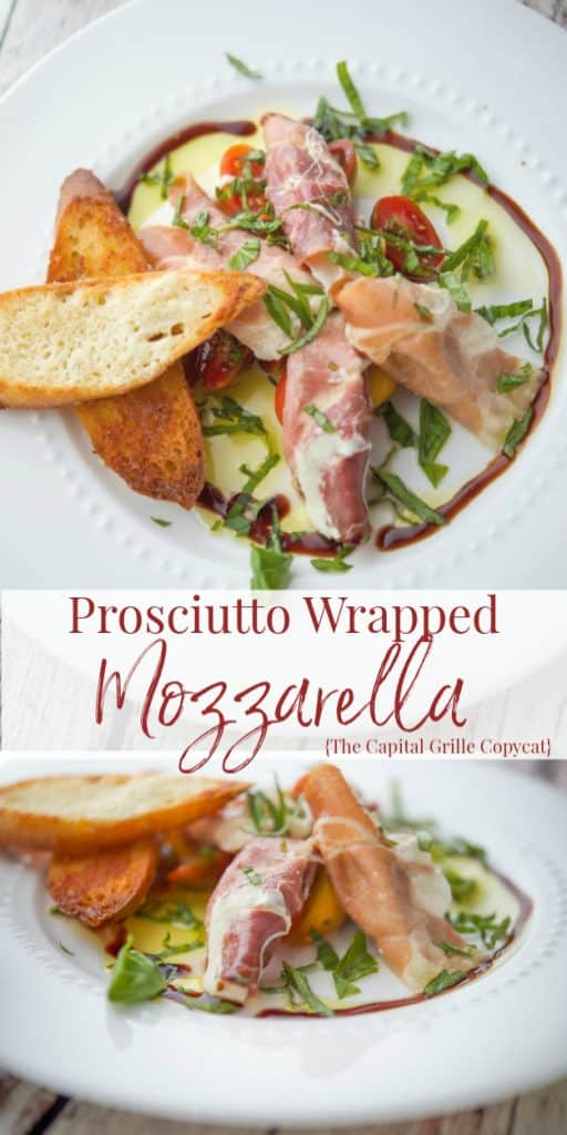 Fresh mozzarella wrapped in Italian prosciutto, pan fried and plated with cherry tomatoes, Parmesan coated crispy bread slices and fresh basil; then drizzled with balsamic vinegar and olive oil.