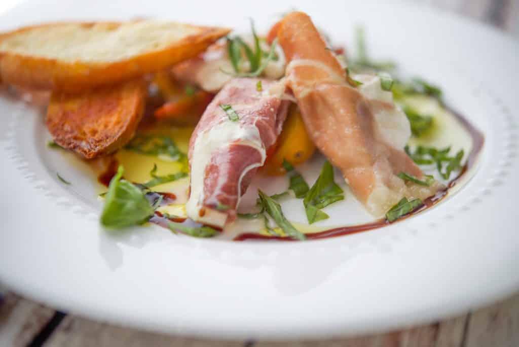 Prosciutto Wrapped Mozzarella on plate