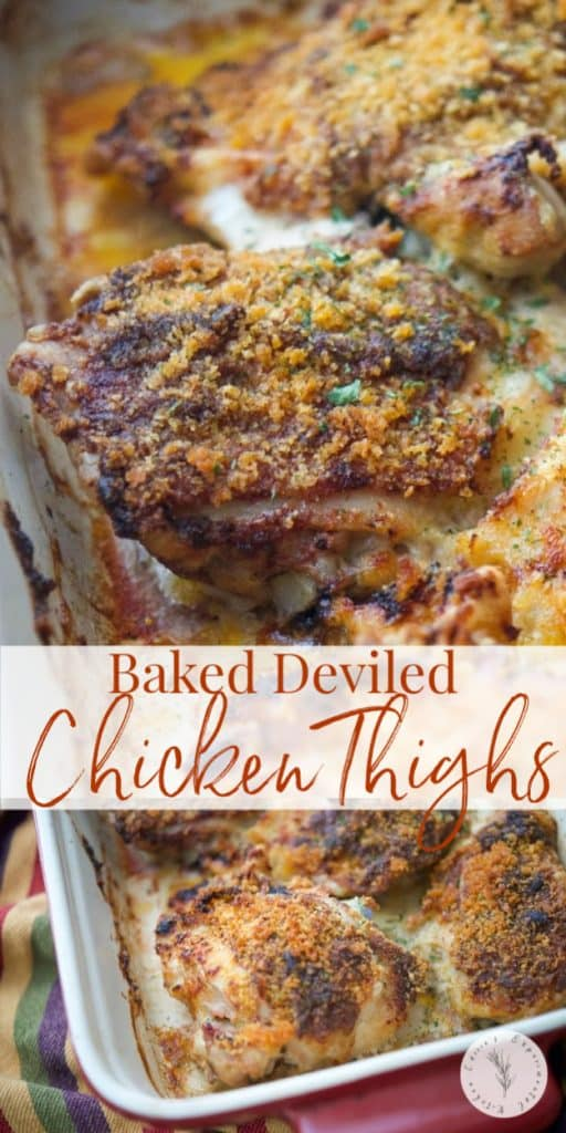 Deviled Chicken Thighs covered in a mixture of butter, spicy mustard, vinegar, cayenne pepper, salt and breadcrumbs; then baked until crispy and golden brown.