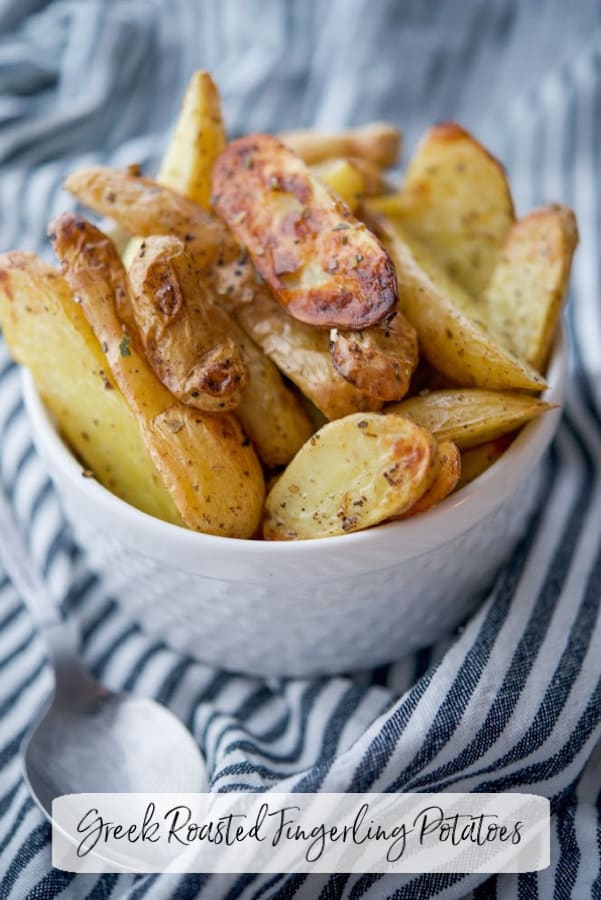 Fingerling potatoes tossed with EVOO, oregano and lemon juice; then roasted until crispy and golden brown make a deliciously tasty side dish.
