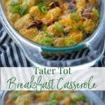 This quick and easy, 5 ingredient Tater Tot Breakfast Casserole made with eggs, cheese and bacon is a tasty breakfast idea when feeding a crowd.