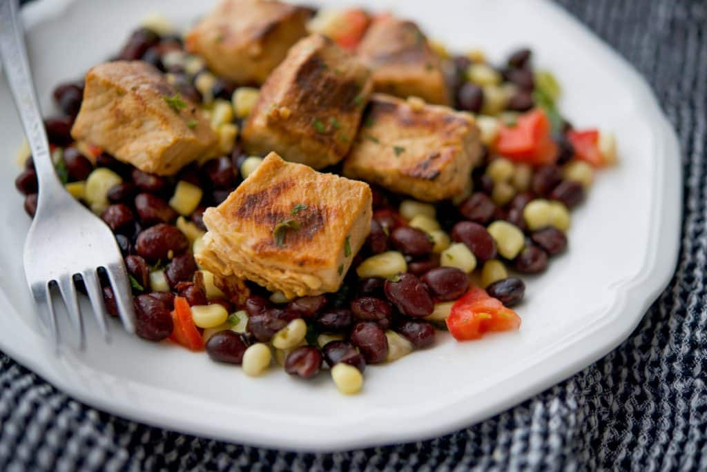 Tequila Lime Pork Bites over Black Bean Salsa