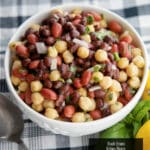 This heart healthy three bean salad made with black beans, kidney beans and chick peas is packed with refreshingly light flavors.