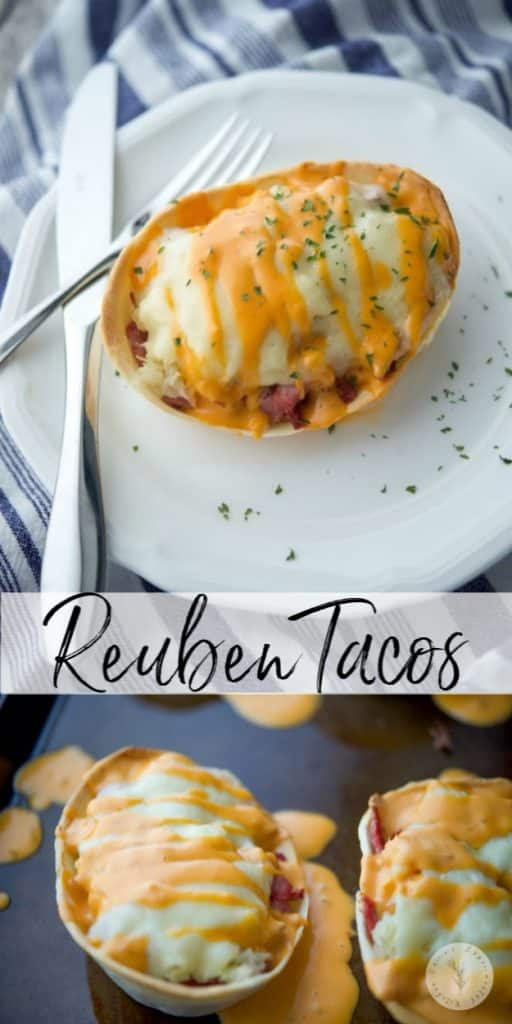 Reuben Tacos are made by stuffing soft tortilla bowls with diced corned beef, sauerkraut, and Swiss cheese; then baked and topped with Russian Dressing.