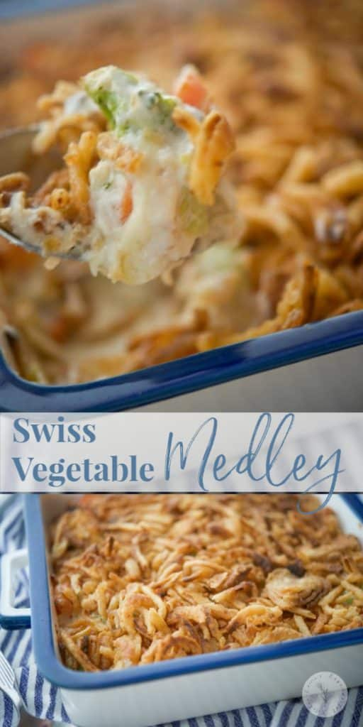 Swiss Vegetable Medley is a classic 1980's casserole side dish made with broccoli, carrots and cauliflower in a creamy mushroom and Swiss cheese sauce; then topped with fried onions.