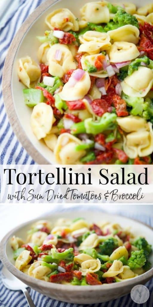 Cheese tortellini combined with sun dried tomatoes and broccoli in a zesty Italian vinaigrette dressing is a hearty cold pasta salad.